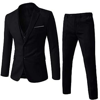 WEEN CHARM Mens Suits 2 Button Slim Fit 3 Piece Suit Wedding Party Blazer Jacket Vest Pants Black