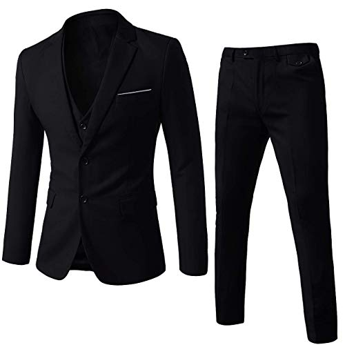 WEEN CHARM Mens Black Suits 2 Butto…