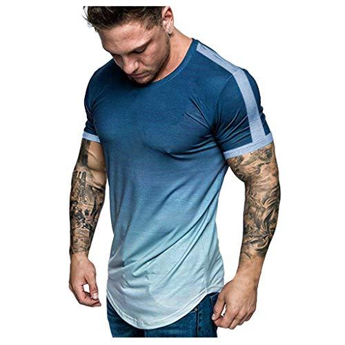 Porn Tshirt t Shirts Tee Shirt Vintage T-Shirt Top Bluse Herren Mode Sommer Slim Casual Fit Farbverlauf Farbe Kurzarm (XXL,Kurzarm-Marine)