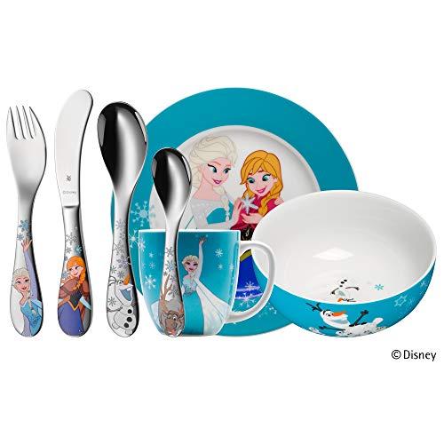 WMF Disney Frozen Kindergeschirr mit Kinderbesteck, 7-teilig, Eiskönigin Elsa & Anna, ab 3 Jahren, Cromargan Edelstahl poliert, spülmaschinengeeignet, farb- und lebensmittelecht