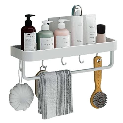 Balda Baño Pared Estanteria WC con Toallero Repisa Baño Blanco Autoadhesiva de Pared Sin Taladro con Ganchos para inodoros-Los 40cm