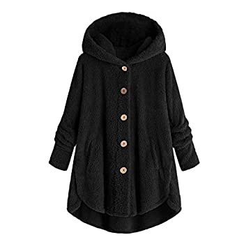 Womens Fall Tops Casual Fleece Dog Panda-Embroidery Pullover Plus Size Loose Hoodie Cat Plush Sweater with Pocket D - Black