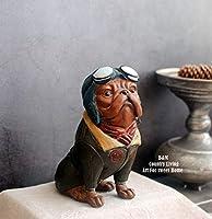 ライフアクセサリー装飾品彫刻像アメリカンスタイルレトロ昔ながらのパイロットブルドッグ犬のスタイリングホームショップ装飾装飾品レトロブルーシッティング