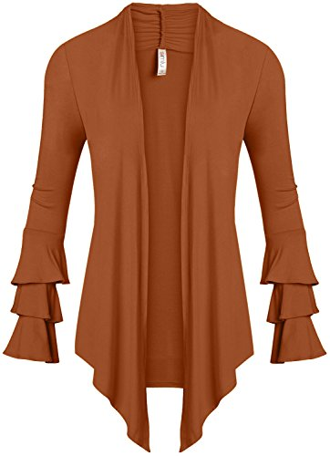 Simlu Womens Open Front Cardigan Sweater Ruffle Long Sleeve Cardigan Reg and Plus Size - Made in USA (Size Small, Terra Cotta)