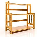 bambuswald© Estantería para especias con 3 estantes, aprox. 39 x 21,5 x 23 cm, de 100% bambú, para cocina, escritorio, salón, cuarto de baño
