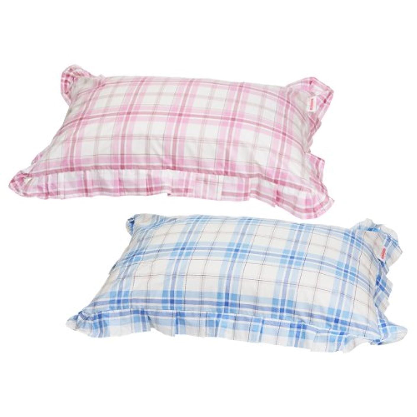 運営ではごきげんよう不変枕カバー 43×70cmの枕用 ファスナー式 タータンチェック フリル仕上げ 安心の日本製 ブルー