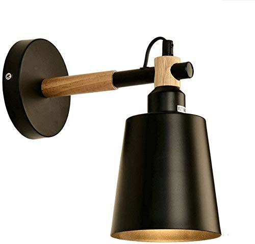 HAITOY Aplique de Pared de Metal Moderno, lámpara de Pared Simple de Madera Negra Adecuada para Dormitorio, Sala de Estar, Hotel, decoración del hogar