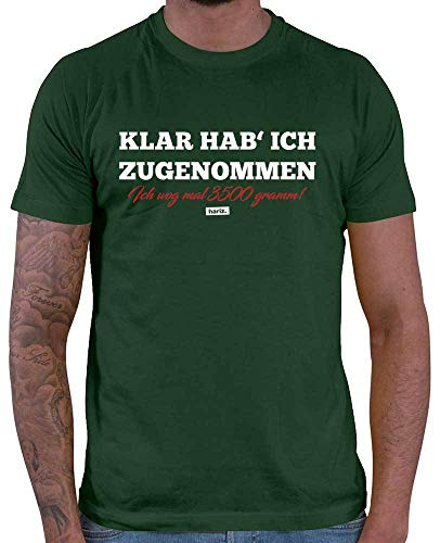 HARIZ  Herren T-Shirt Klar Hab Ich Zugenommen Ich Wog Mal 3500 Gramm Lustiger Spruch Plus Geschenkkarten Dunkel Grün L