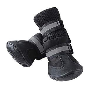 zmigrapddn 4pcs étanche Tissu élastique Bottes de Pluie Petite Grande pour Animal Domestique Chiot antidérapant Chaussures Coque Chaussettes pour Chien