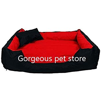 Gorgeous Quilted Reversible Ultra Soft Dual Sofa-Style Red Black Dog Bed -Small