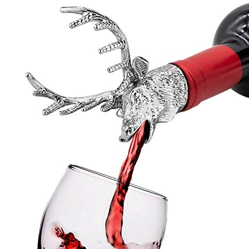 HASAGEI Weinausgießer Hirschkopf Dauerhaft Zinklegierung Flaschenverschlüsse Silber Wine Pourer Wein Stopper Fun Ausgießer für Weinflaschen Geschenk für Weinliebhaber und Weihnachten
