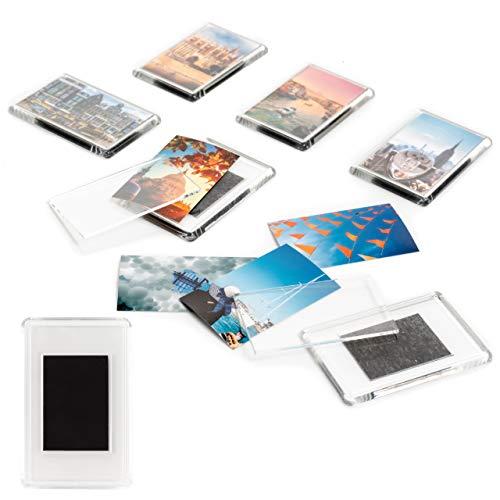 Juego de 50 Marcos de Fotos en Blanco Imanes para Refrigerador -Marcos Acrílico Transparente- Se adhieren a Cualquier Superficie magnética.