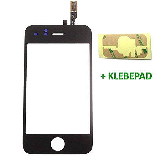 Genieforce® Touchscreen Glas Digitizer SCHWARZ für iPhone 3GS A1325 A1303, mit Original LVA Flexkabel - inkl. 3M doppelseitigen Klebestreifen - SCHWARZ