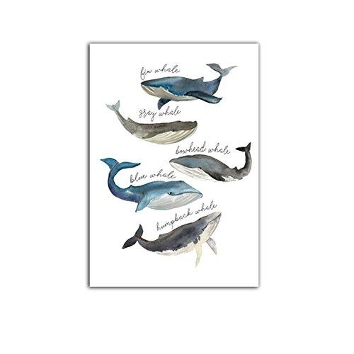 Sunwords Wandbild mit Wal-Motiv, ungerahmt, Aufhängen, Aquarell-Gemälde, Dekoration fürs Zuhause, Whale, 40cm x 50cm
