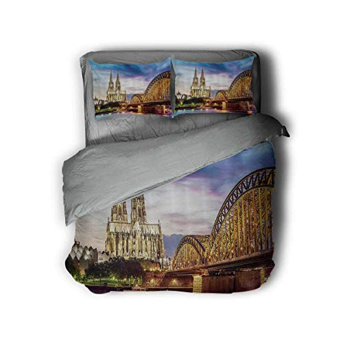 Luoiaax European Cityscape Decor Extra Large Quilt Cover Illuminated Dom in Cologne Old Bridge and Rhine at Sunset European Culture Print Can be Used as a Quilt Cover-Lightweight (Queen) Multi