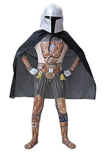 Snuter Kids Children Mandalorian Cosplay Jumpsuit with Cloak and Headgear,XXL