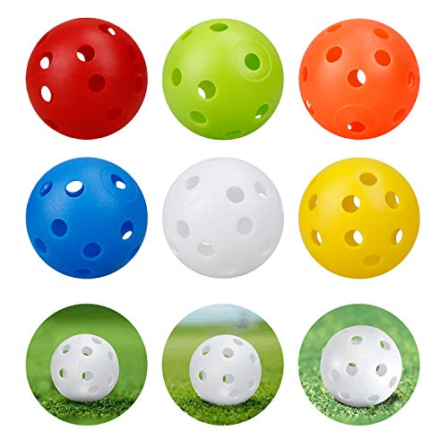 Kofull 40 mm 24 Piezas Pelotas de Golf de Distancia con Agujero de Flujo de Aire de Golf Coloridas Bolas de plástico Perforadas para práctica de Uso doméstico, Mascotas Bolas para diversión, Mezcla