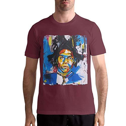 Herren Jean Michel Basquiat T-Shirts Oberteile Kurzarm Rundhals Baumwolle General T-Shirts Burgund XXXX-Large