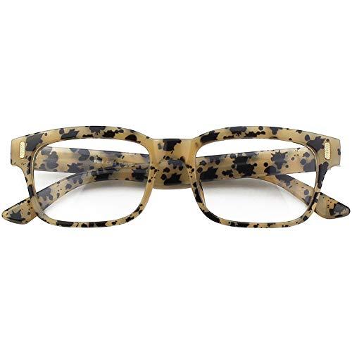CGID CN12 Brille Extra Schmaler Rahmen! Slim Rechteck Nerd Clear Brille, B Spot, 52