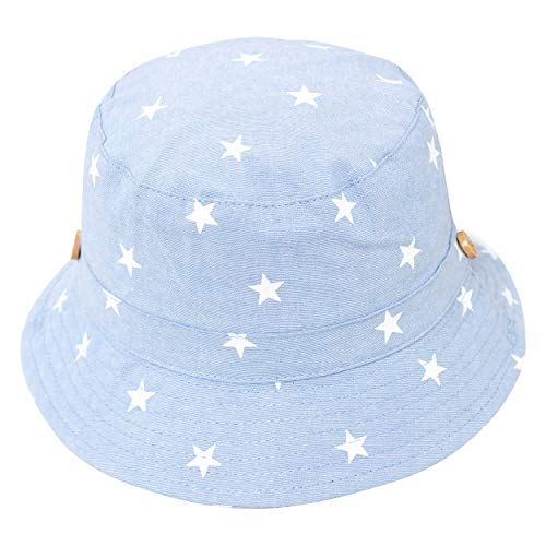 ANIMQUE Baby Kinder Fischerhut Strandhut Baumwolle Sommer Frühling Mütze Sonnenhut UV Schutz Sternmotiv Hellblau, Kopfumfang 48-50cm L