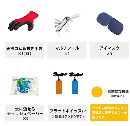 ピースアップ防災セット3人用(エアーマット:ブルー×3/リュック:レッド×1オレンジ×1グリーン×1)警戒レベル4