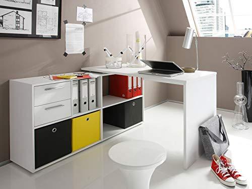 Eckschreibtisch Winkelkombination Schreibtisch Arbeitstisch Bürotisch Yihabo I in Blanco