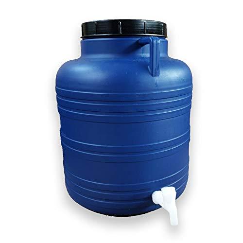 KS24 Weithalsfass 60 Liter mit Zapfhahn blau Schraubdeckelfass Mostfass Wasser Saft Federweiser Griffhenkel Regenfass Tonne Kunststoff Plastik Fass