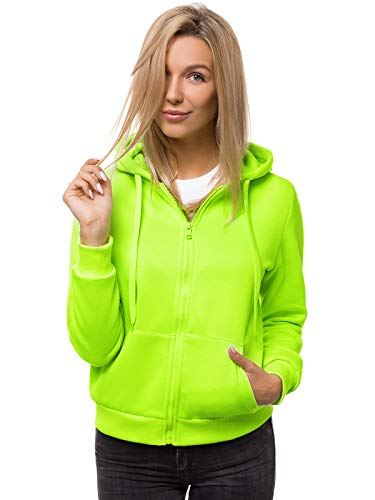 OZONEE Damen Kapuzenpullover Sweatjacke Sweatshirt Farbvarianten Kapuzenjacke Kapuzenpulli Kapuze Langarm Hoodie Sport Style Casual Fitness Training Basic JS/W03 GRÜN-NEON L