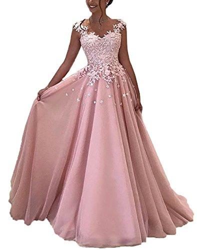NUOJIA Damen Prinzessin Ballkleider Lange mit Appliques Party Kleid Rosa 48