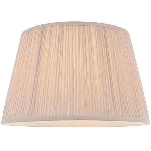 Lampenschirm, rund, konisch, trommelförmig, 35,6 cm, Altrosa – geraffter Seidenstoffbezug – modernes & elegantes Design – Tisch-/Stehlampenfassung & Hängelampen