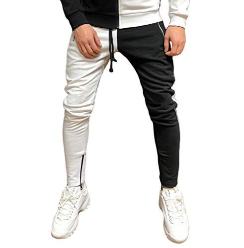 Men's Side Stripe Zipper Tracksuits Zipper Hoodies Jacket Drawstring Waistband Long Sleeve Joggers Set (Pants Black+White, Medium)