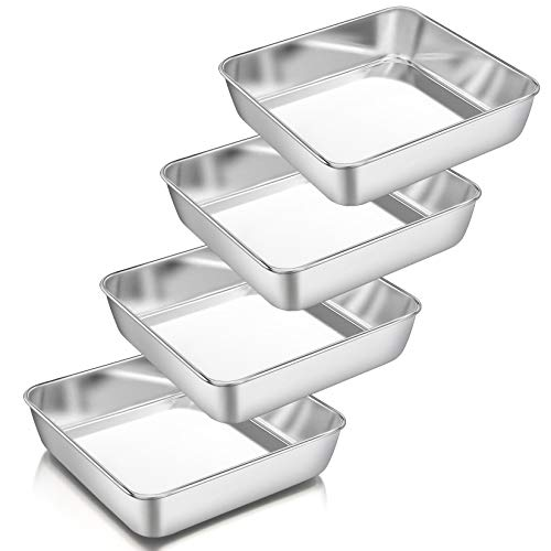 "8 Inch Square Baking Pan Set of 4, Square Cake Pans, P&P CHEF Stainless Steel Deep Bakeware for Lasagna Bread Brownie, 8""×8""×2"", Leakproof & Heavy Duty, Easy Release & Dishwasher Safe"