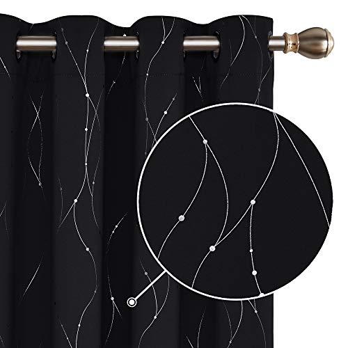 Deconovo Cortinas Opacas con Aislamiento Térmico con 8 Ojales para Ventanas de Salón con Líneas Plateadas 117 x 138 cm 2 Piezas Negro
