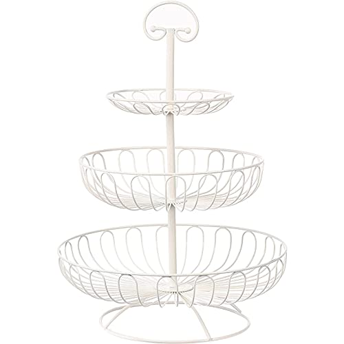 Fruit Basket Bowl - 3 Tier Metal Serving Basket Display Storage Stand Holder for Vegetable Produce Snack Bread – Cream White, 18.25 Inches Tall