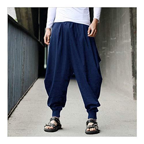 GODVC Estilo Chino 2020 Noticias de algodón Haroun Pantalones Ocasionales Flojas Vestido Tradicional Chino for los Hombres del Traje Samurai Hakama Hip Hop (Color : A2, Size : L)