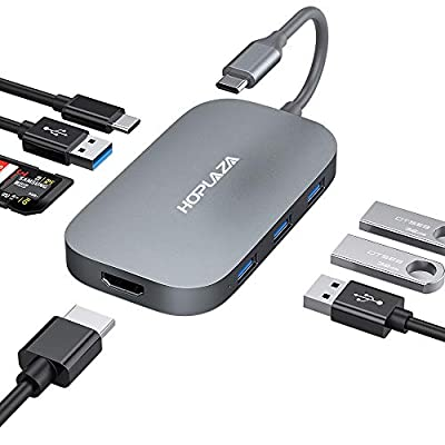 """USB C Hub Adapter, Upgraded Aluminum 8 in 1 Type C Hub for MacBook Pro 13"""" and 15"""" 2016/2017/2018, USB C to HDMI, TF/SD Card Reader, USB-C Power Delivery, 4 USB 3.0/2.0 Ports (Space Grey)"""
