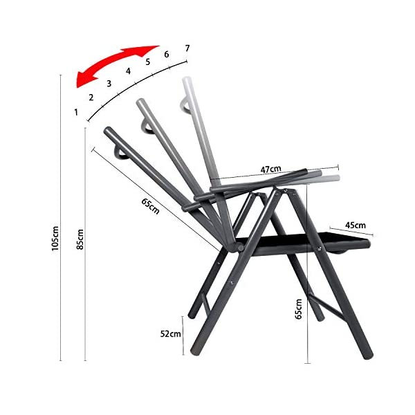 CCLIFE Alu Klappstuhl 2er 4er Set Gartenstuhl Balkonstuhl verstellbar klappbar Belastbarkeit 120 kg Aluminium Outdoor…