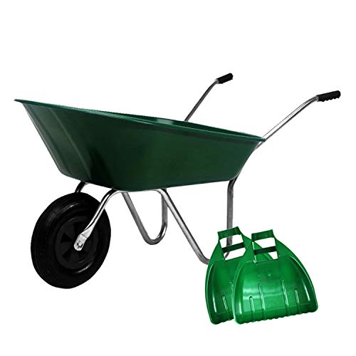 simpaoutdoor Durable Green Plastic Wheelbarrow 85 Litre with Pnuematic Tyre and Large Plastic Leaf Grabber Set.
