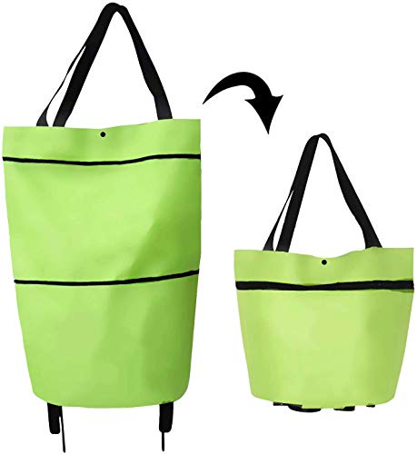 BXMDER 2 In 1 Foldable Shopping Cart with Wheels Foldable Shopping Bag with Wheels Foldable Eco Friendly Shopping Bag with Wheels Waterproof Reusable Grocery Bags Green