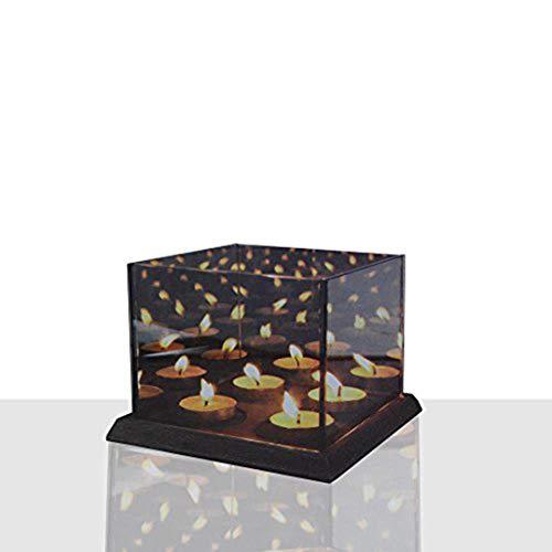 DRULINE Teelichtalter 3D Effect Für 4 Teelichter Teelicht Würfel Spiegel Teelichthalter aus Glas | L x B x H 16 x 16 x 12 cm | Grau