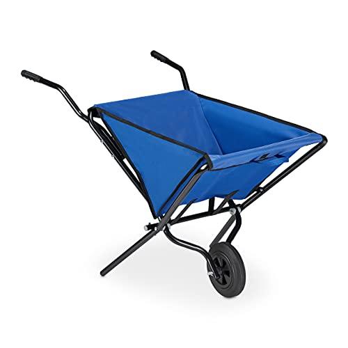 Relaxdays Faltschubkarre, mit Vollgummireifen, Stahl & Polyester, 46 Liter, Klappschubkarre HBT: 71x110x62 cm, blau