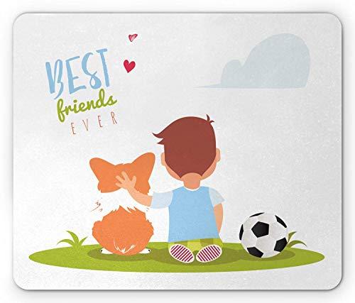 Beste vriend muismat, Cartoon Little Boy knuffelen zijn hond met een voetbal in de buurt van hem, muismat Apple Green