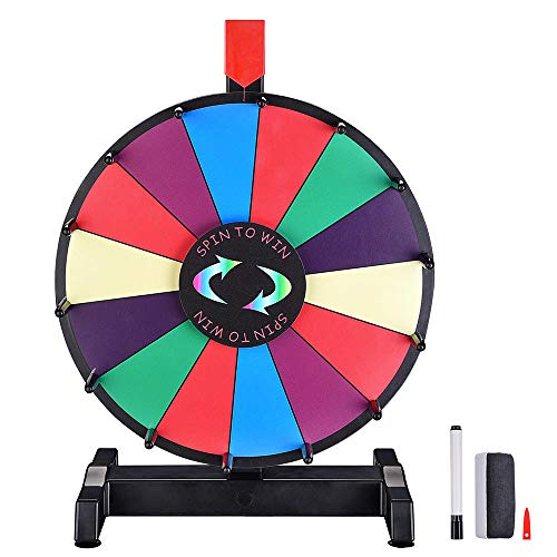 """WinSpin 12"""" Editable Color Prize Wheel Dry Erase Fortune Spinning Game Carnival with Tabletop Stand 14 Slots"""
