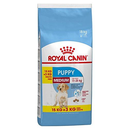 Royal Canin Medium Junior Hundefutter, 15 kg plus 3 kg extra, 1er Pack (1 x 18 kg)