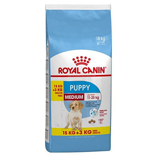 Royal Canin Medium Junior Hundefutter, 15 kg plus 3 kg extra, 1er Pack (1 x 18 kg)