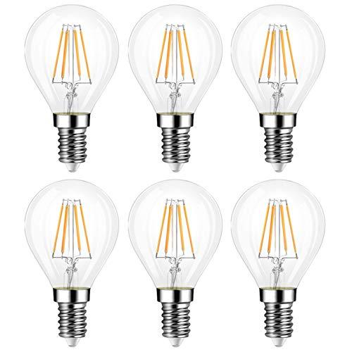 Ampoule Filament G45 E14 4W Dimmable, Lumière Chaude 2700K, 400 Lumen, Équivalent Incandescent E14 40W, 230V, Ampoule Golf LED à Petit Culot, Éclairage Vintage pour Lustre, lot de 6
