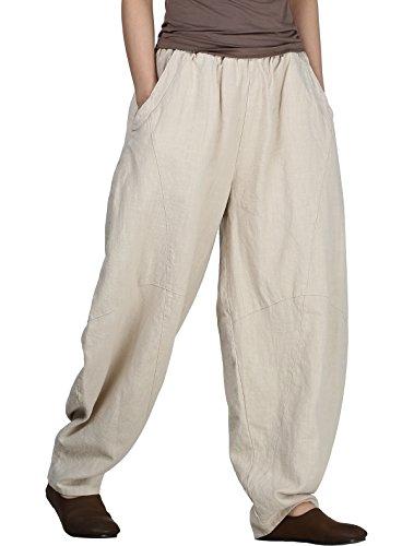 Mallimoda Damen Leinen Hose Elegant Pumphose Elastischer Bund Lange Hosen mit Taschen Beige M
