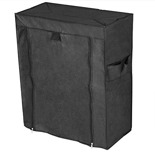 PrimeMatik - Armario ropero y Zapatero de Tela Desmontable 60 x 30 x 72 cm Negro con Puerta Enrollable