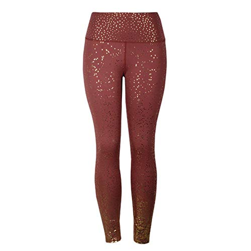 HPPLStamping yogabroek dames gym slim fit sportlegging gouden print hoge taille push-up fitnesslegging atletische broek, bruin, XL
