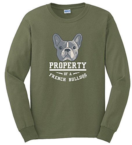 ThisWear French Bulldog Calendar French Bulldog Gifts Property of a French Bulldog Long Sleeve T-Shirt XL MlGrn Military Green
